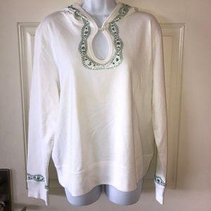 Moda International Hooded Popover White Embellish